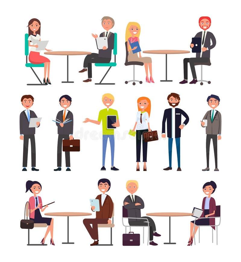Работники офиса с портфелей комплектом режима ежедневно бесплатная иллюстрация