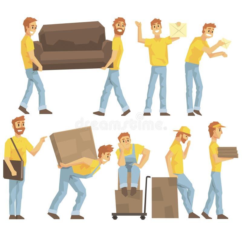 Работники поставки и транспортной компании нося тяжелые объекты, поставляя пересылки и помогая с комплектом переселения  иллюстрация штока