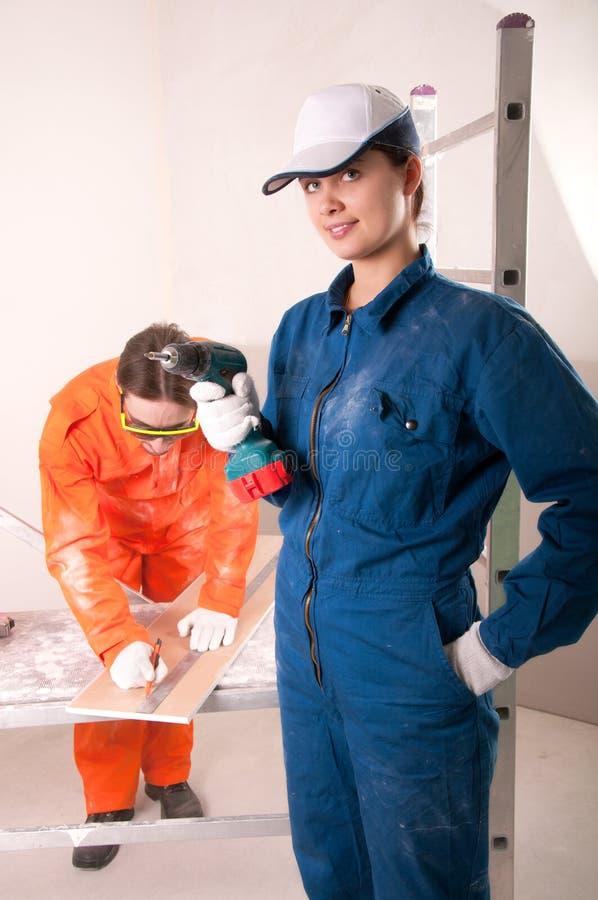 работники строительства стоковая фотография rf