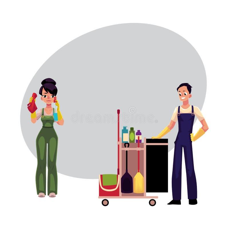 Работники уборки, окна девушки моя, человек, мальчик с вагонеткой иллюстрация вектора