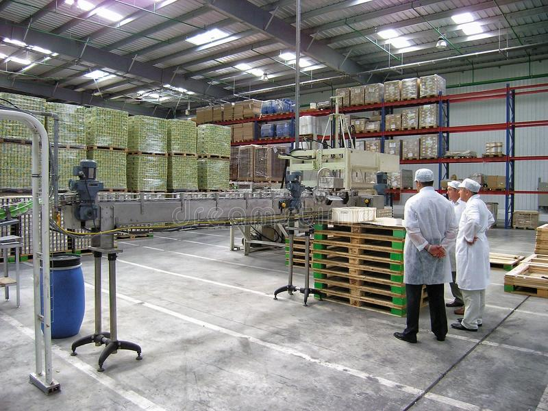 Работники фабрики маиса Bonduelle обрабатывая готовят транспортер и обсуждают вопросы продукции чонсервной банкы Взгляд интерьера стоковое фото