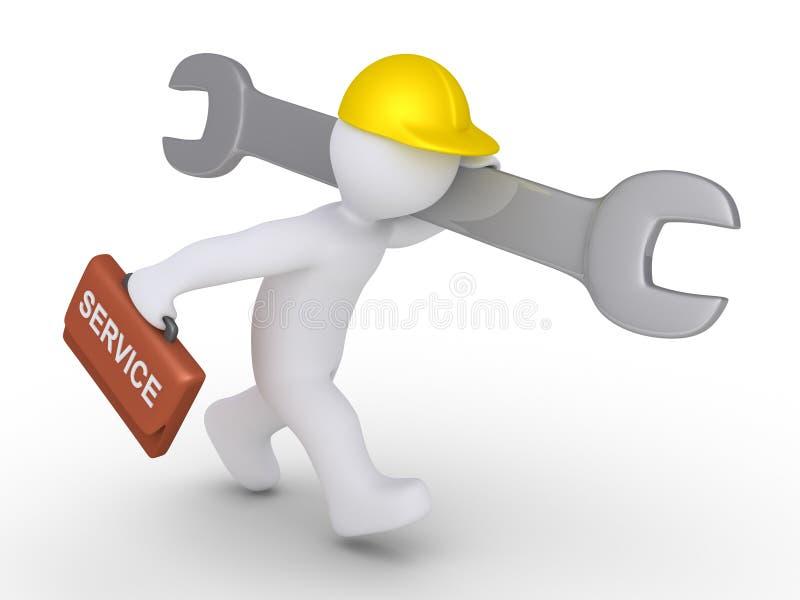 Работник бежит для того чтобы обеспечить обслуживание иллюстрация вектора