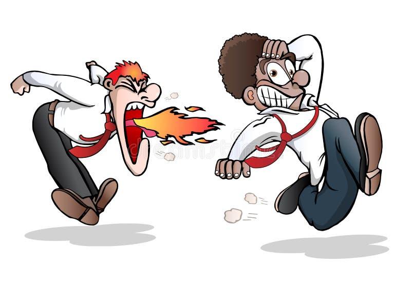 работник босса сгорел его ленивое бесплатная иллюстрация