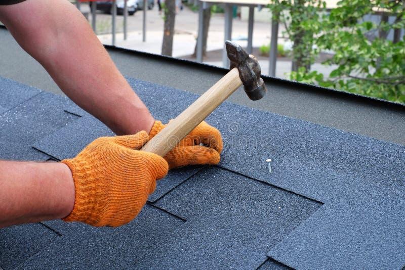 Работник вручает устанавливать гонт крыши битума используя молоток в ногти стоковое фото