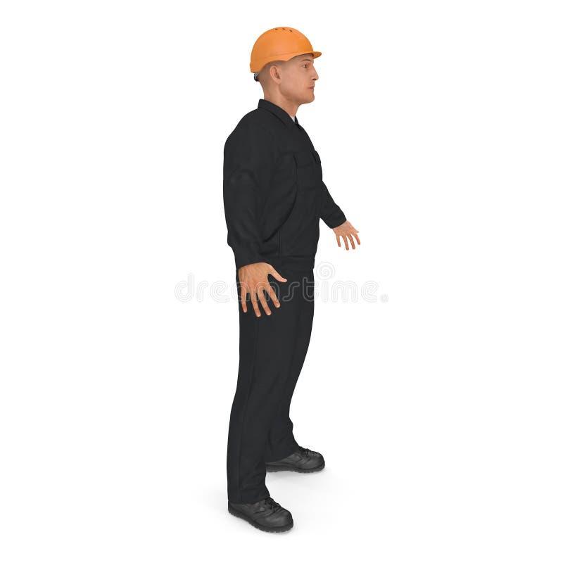 Работник в черной форме с представлением положения защитного шлема стоковая фотография