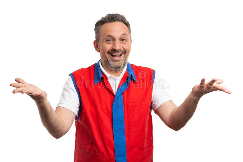 Работник гипермаркета счастливый как обнаружение решения стоковое фото rf