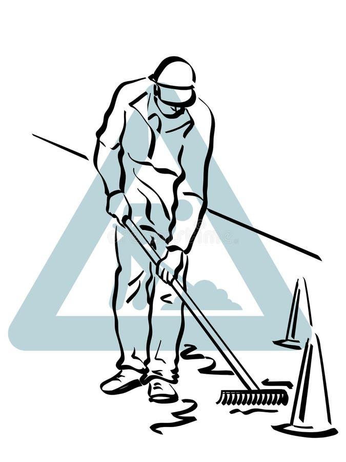 Работник дороги на работе иллюстрация вектора