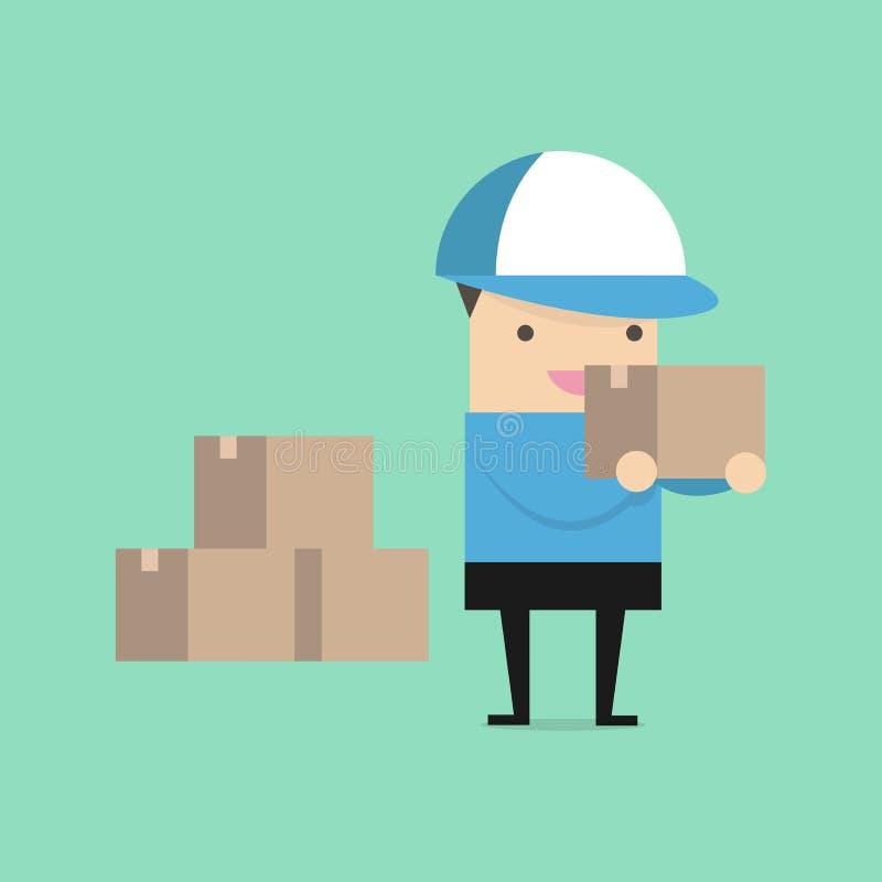 Работник доставляющий покупки на дом в голубой форме держа коробки и документы в различных представлениях бесплатная иллюстрация