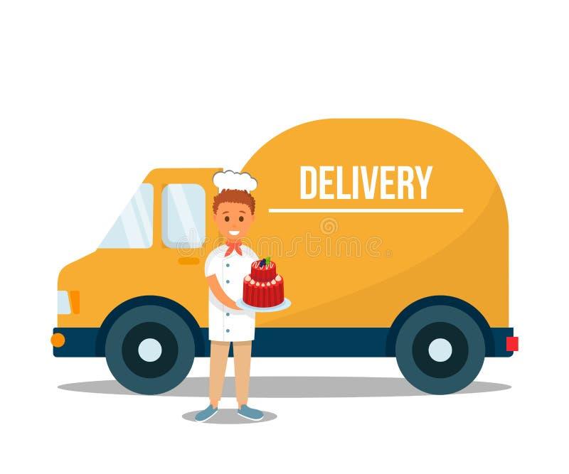 Работник доставляющий покупки на дом держа торт плода сладкий около тележки бесплатная иллюстрация
