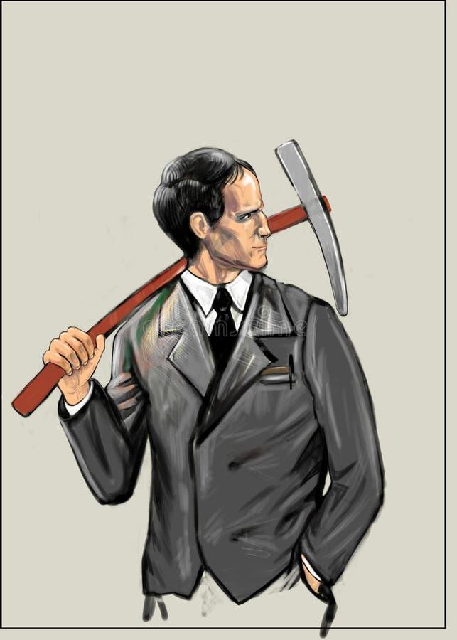 Работник держит кирку на его плече бесплатная иллюстрация