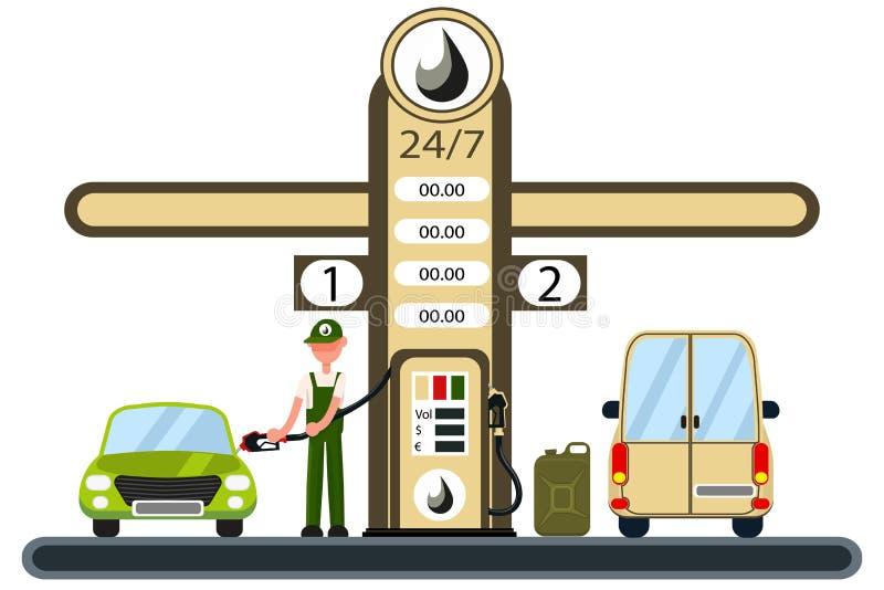 Работник заполняет автомобиль на бензоколонке иллюстрация вектора