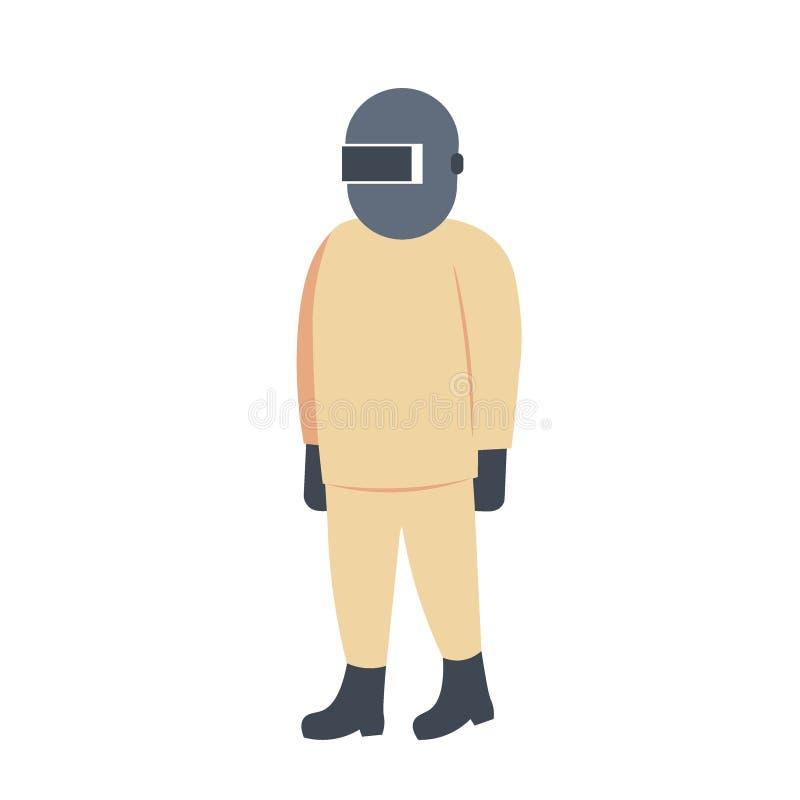 Работник значка человека сварщика промышленный в защитной форме и концепции занятия маски персонаже из мультфильма профессиональн иллюстрация вектора