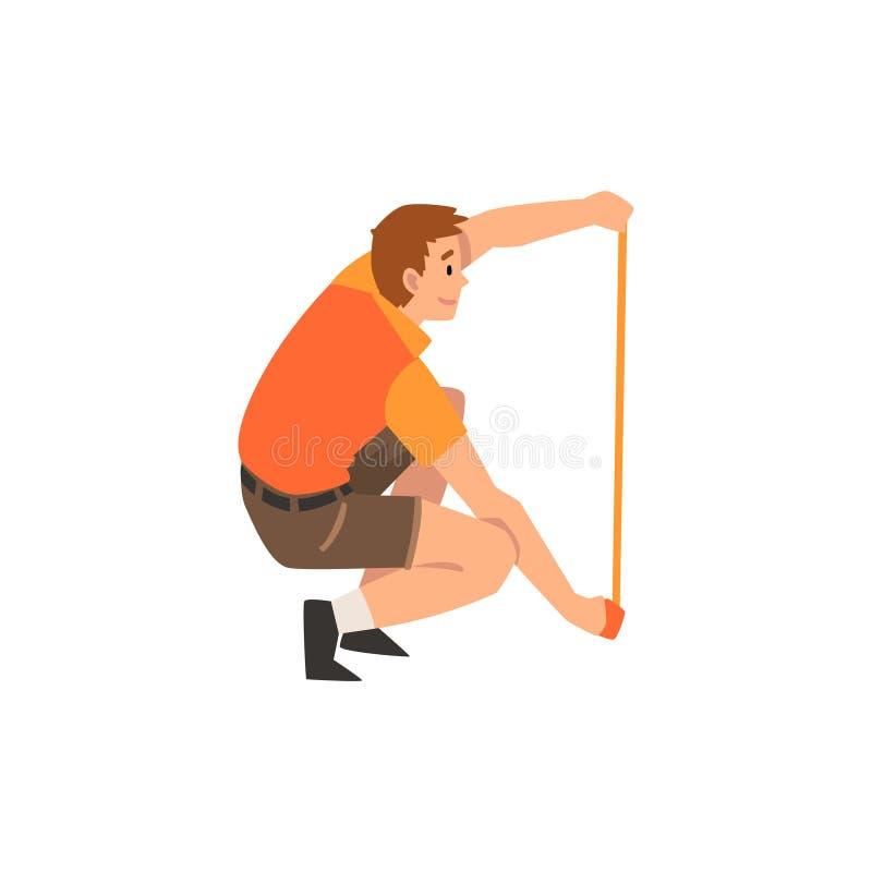 Работник или ветеринар зоопарка с измеряя лентой, профессиональный заботить характера владельца зоопарка животной иллюстрации век иллюстрация вектора