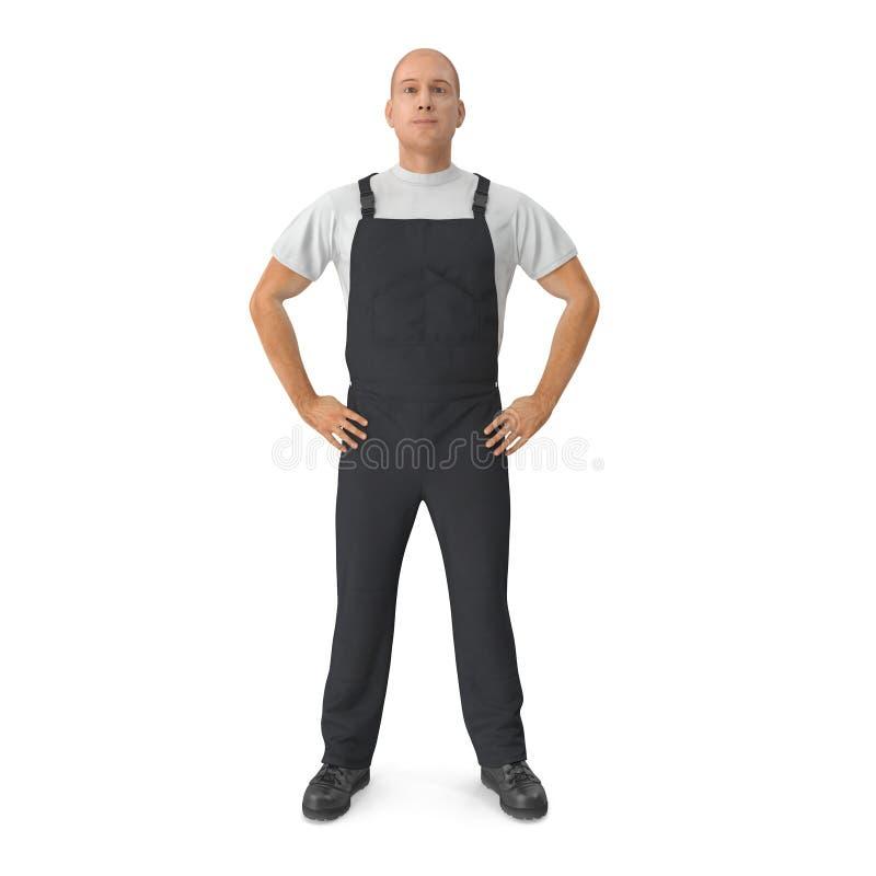 Работник нося черное представление положения костюма прозодежд иллюстрация 3d иллюстрация штока