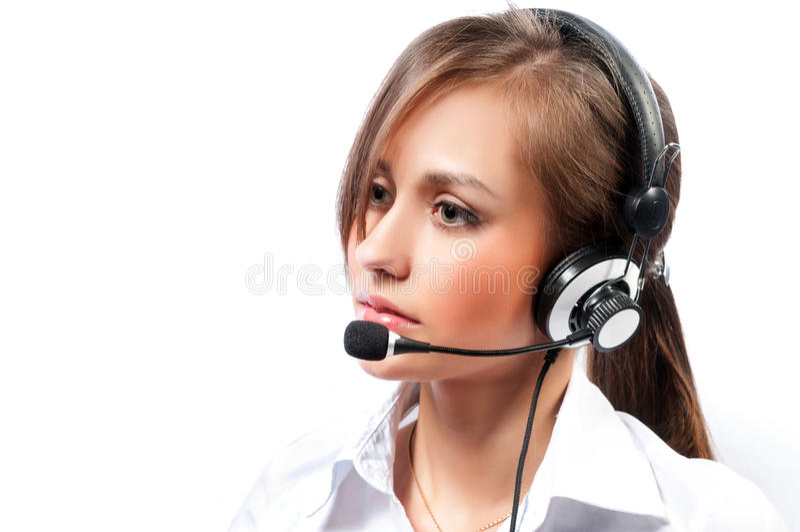 Работник обслуживания клиента женщины, оператор центра телефонного обслуживания усмехаясь с стоковые изображения rf