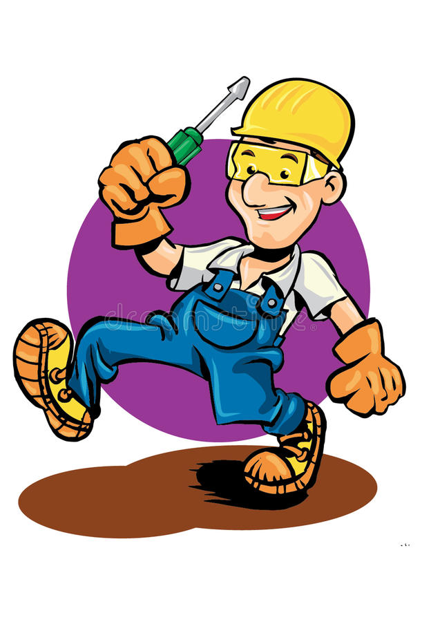 Работник обслуживания с отверткой инструментов стоковая фотография rf