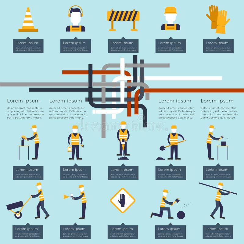 Работник дороги infographic иллюстрация штока