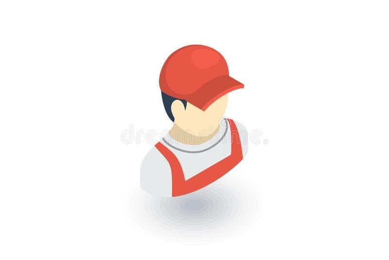 Работник доставляющий покупки на дом в красном равномерном равновеликом плоском значке вектор 3d иллюстрация вектора