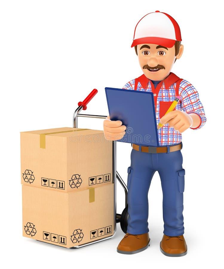 работник доставляющий покупки на дом курьера 3D проверяя пакеты для того чтобы поставить иллюстрация штока