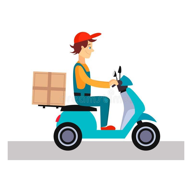 Работник доставляющий покупки на дом на велосипеде, иллюстрация вектора иллюстрация вектора