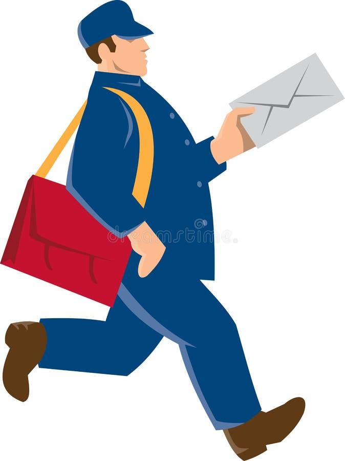 Работник доставляющий покупки на дом почтового работника почтальона ретро иллюстрация вектора