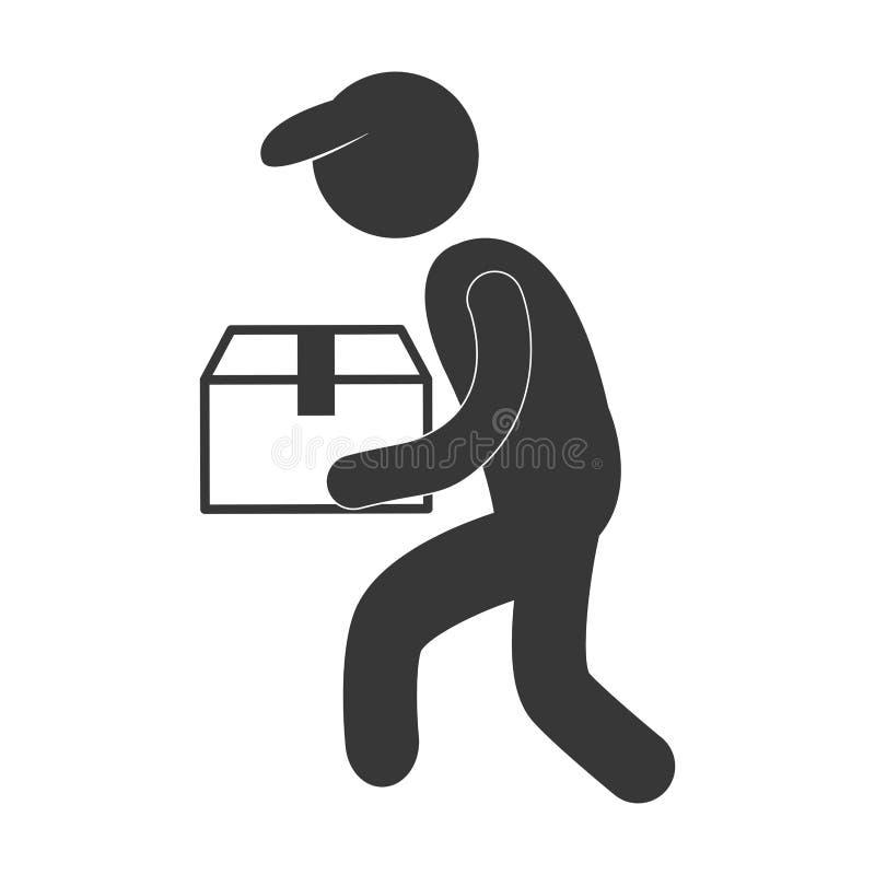 работник доставляющий покупки на дом с диаграммой пиктограммой коробки крышки иллюстрация штока