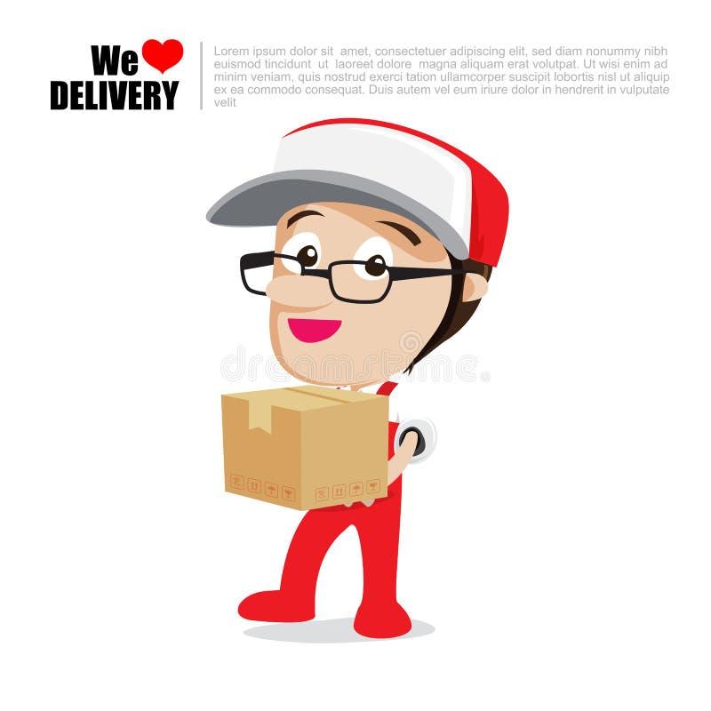 Работник доставляющий покупки на дом улыбки вручая коробку, и шарж поставки пакета бесплатная иллюстрация