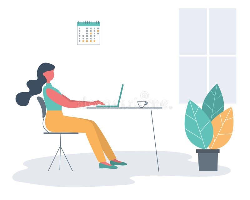 Работник офиса в рабочем месте Икона дела иллюстрация штока
