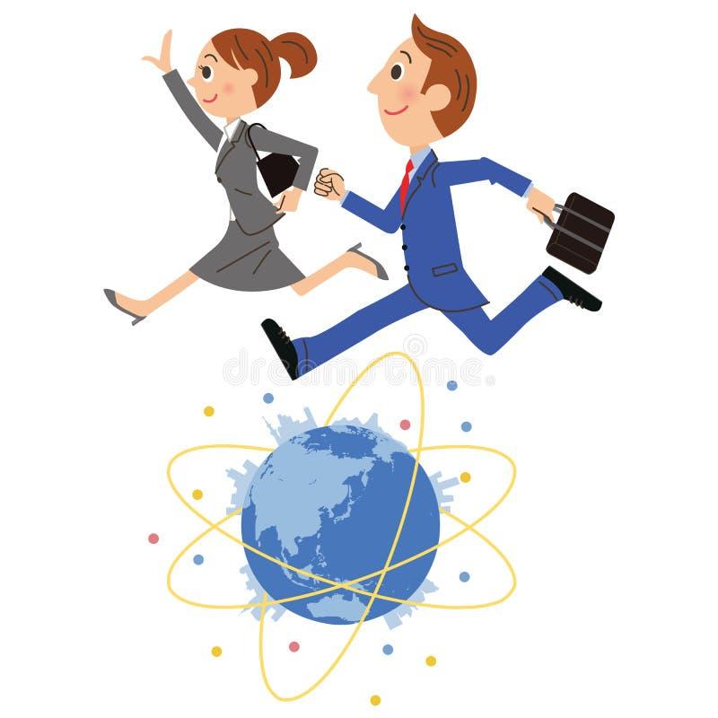 Работник офиса который бежит по всему миру бесплатная иллюстрация