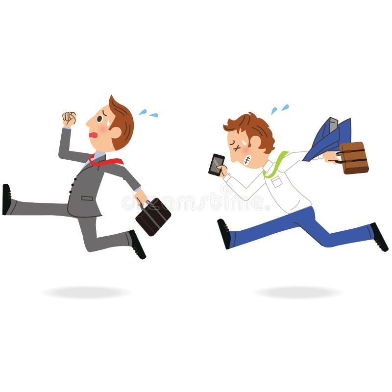 Работник офиса который бежит иллюстрация штока