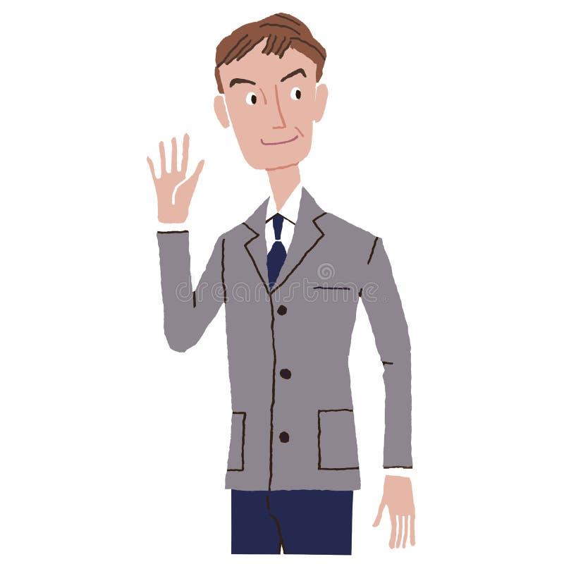 Работник офиса который кладет вверх руку иллюстрация вектора