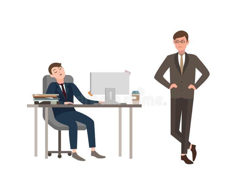 Работник офиса одетый в деловом костюме сидит на столе с компьютером и сны, его босс сердито смотрят его Концепция  иллюстрация штока