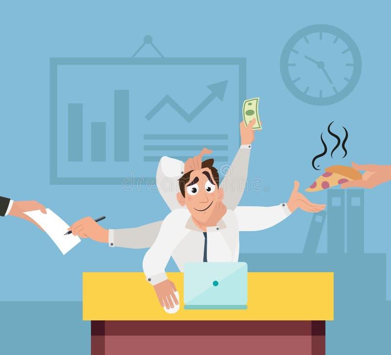 Работник офиса с 6 руками с и multi управлением задачами бесплатная иллюстрация