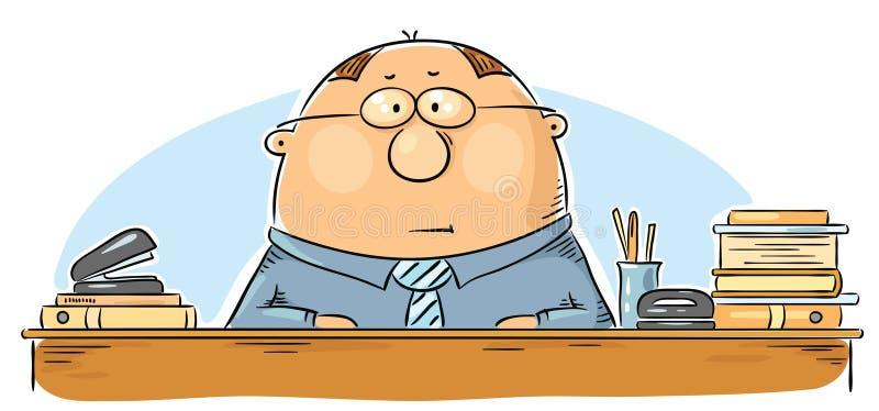 Работник офиса шаржа иллюстрация вектора