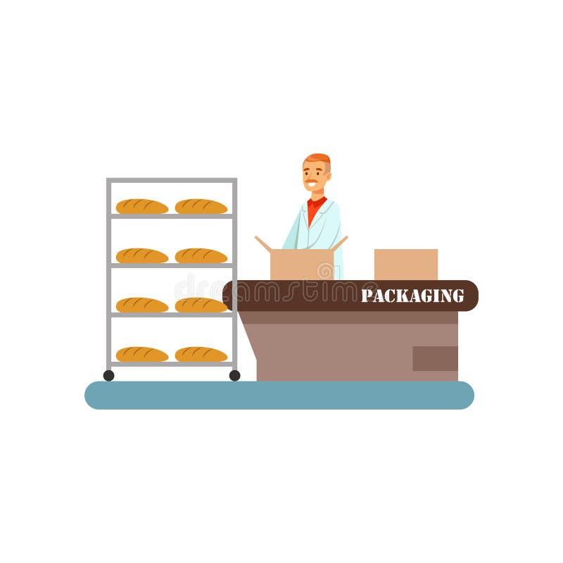 Работник пакуя свеже испеченный хлеб в коробках, этап иллюстрации вектора производственного процесса хлеба на белой предпосылке бесплатная иллюстрация