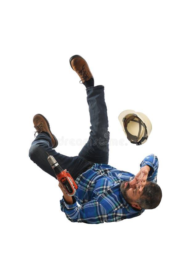 Работник падая дальше назад стоковое изображение