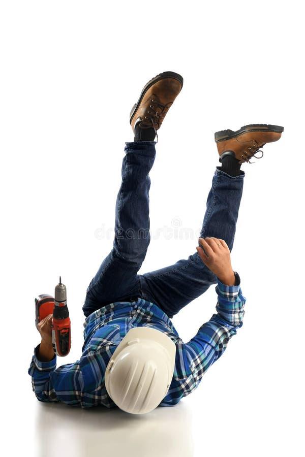 Работник падая на пол стоковое изображение rf