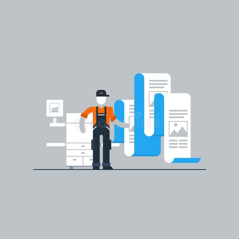 Работник печати с принтером и документами иллюстрация вектора