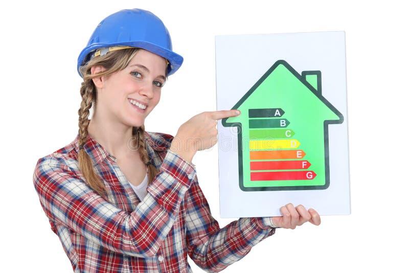 Работник повышая энергию - сбережения. стоковое изображение