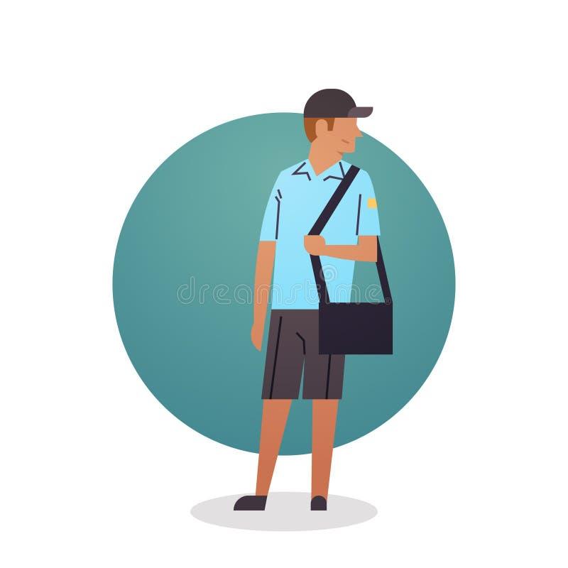 Работник поставки почтовой службы значка мальчика курьера иллюстрация вектора