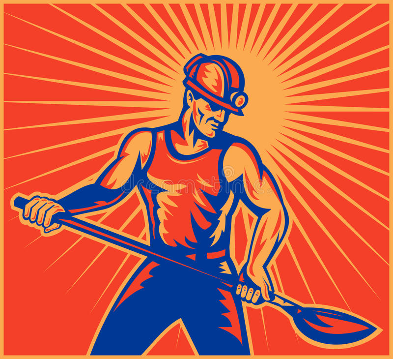 работник работы горнорабочей угля иллюстрация вектора