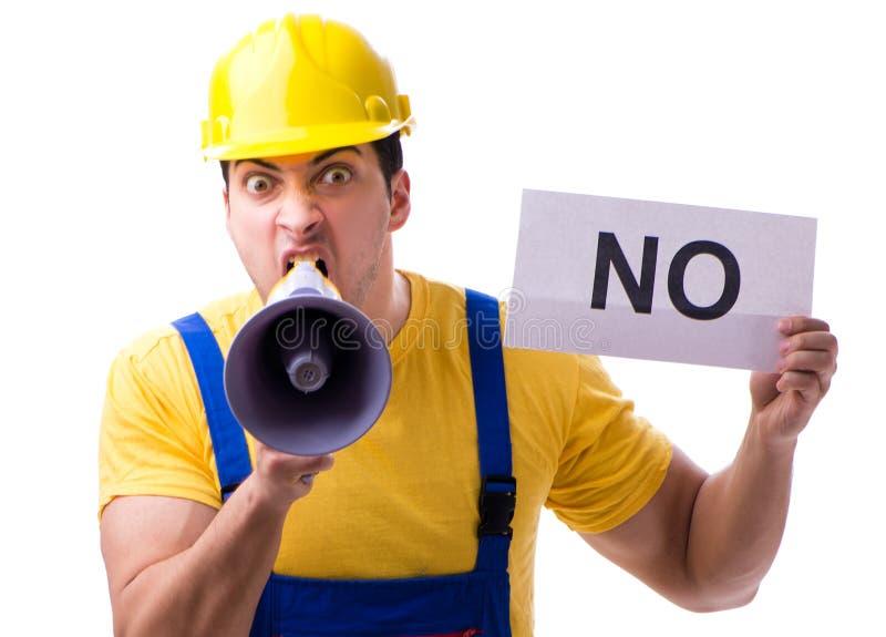 Работник реагирует отрицательно, но не изолирован от белого стоковые фото
