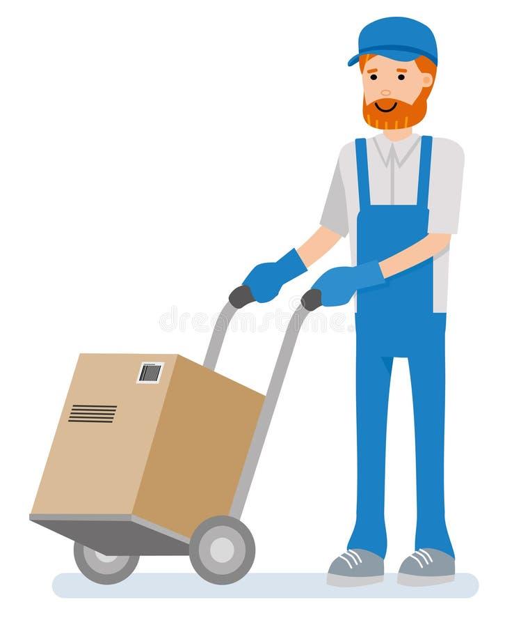 Работник склада вытягивает pushcart с товарами на белой предпосылке Персона персонажа из мультфильма иллюстрация вектора