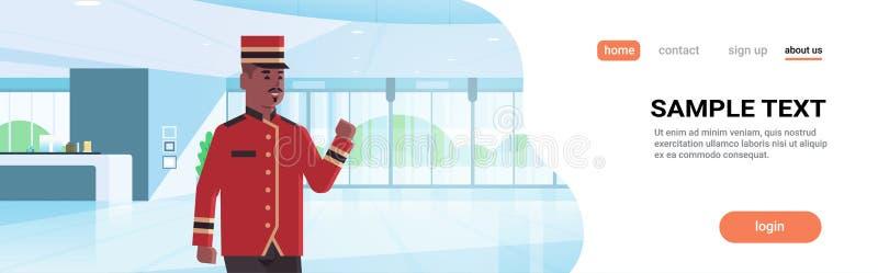 Работник счастливого bellman мужской в мультфильме равномерного лобби приемной концепции обслуживания гостиницы современного внут иллюстрация вектора