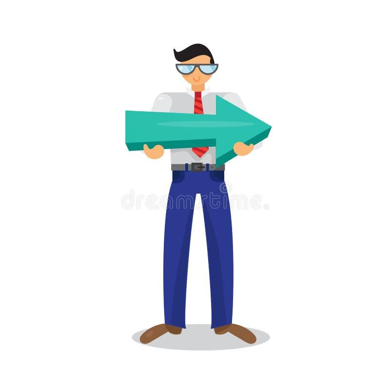 Работник с большой стрелкой в руках иллюстрация штока