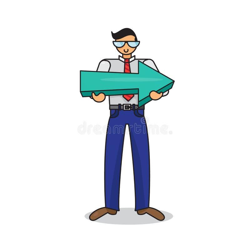 Работник с большой стрелкой в руках иллюстрация вектора
