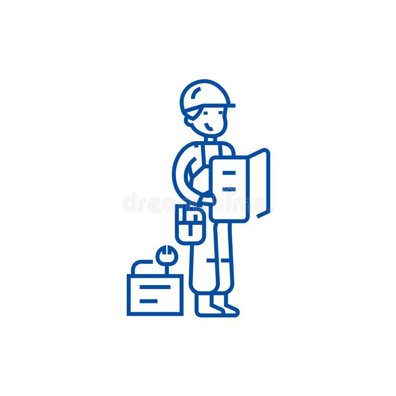 Работник с планом и инструменты выравнивают концепцию значка Работник с символом плана и вектора инструментов плоским, знаком, ил иллюстрация вектора