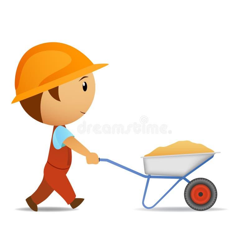 работник тачки шаржа иллюстрация штока