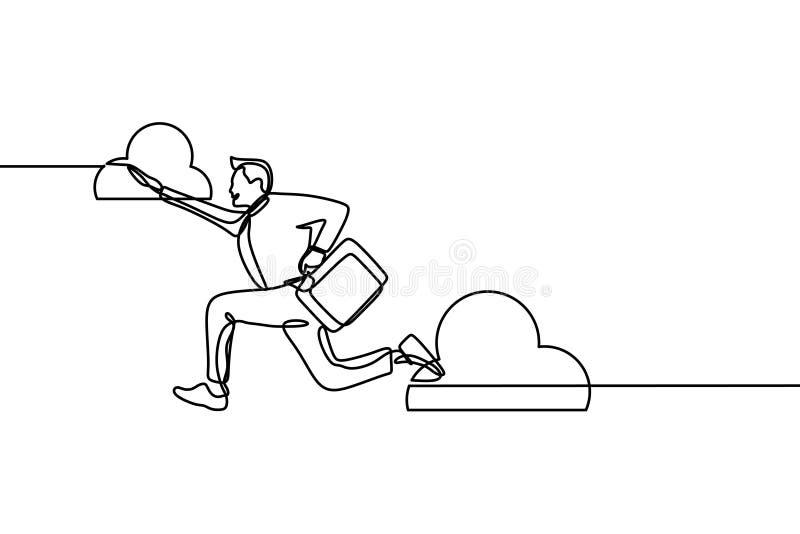 Работник успеха со скакать формы офиса и радостная одной линией стиль чертежа непрерывный Концепция человека преодолевая препоны, бесплатная иллюстрация