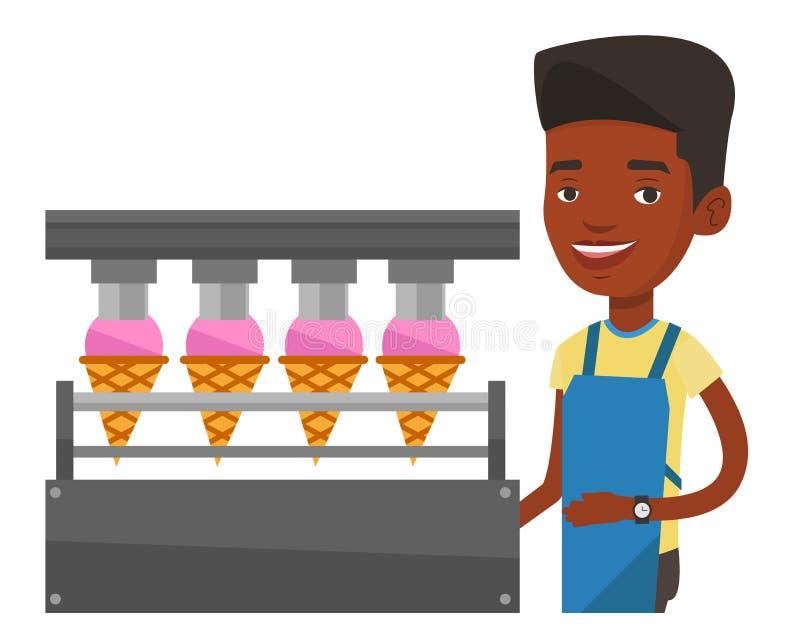 Работник фабрики производящ мороженое иллюстрация штока